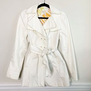 Anthropologie Elevenses white belted trench coat 6